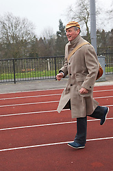 "© Licensed to London News Pictures. 03/03/2012. London, England. Michael Palin hopping. Terry Jones and Michael Palin of Monty Pythons fame today, Saturday 3 March, staged a public ""Hopathon"" to mark the DVD release of Ripping Yarns The Complete Series, and as an homage to the episode entitled Tomkinsons School Days at the Athletics Track in  Hampstead Heath, London. Photo credit: Bettina Strenske/LNP"
