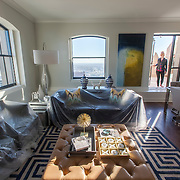 Interior photography of finished apartment unit at the historic Power and Light Building skyscraper as it undergoes renovation into apartments. Downtown Kansas City, Missouri.
