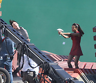 ***WORLD EXCLUSIVE*** February 23rd 2012 Los Angeles, CA.  The first images from the set of the highly anticipated Untitled Star Trek Sequel. Zoe Saldana as Nyota Uhura uses a Phaser Gun to save Spock from a Villain on a space cargo ship. Photos by Eric Ford/On Location News 1/818-613-3955 info@onlocationnews.com