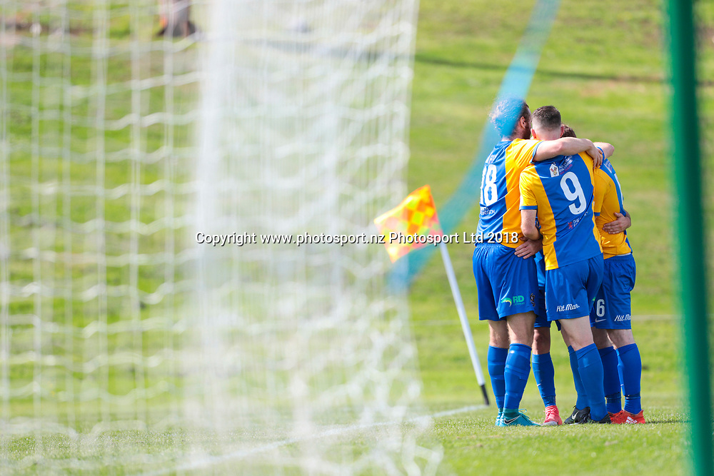Southern United celebrate a goal off the boot of Alex Risdale during the Southern United vs Hamilton, ISPS Handa Premiership football match held at Sunnyvale Park, Dunedin, New Zealand. 10 March 2018. Copyright Image: Derek Morrison / www.photosport.nz