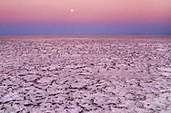 Moon over salt desert, Makgadikgadi Pans, Botswana