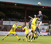 Dundee's James McPake rises above St Mirren's Mark McAusland - Dundee v St Mirren, SPFL Premiership at <br /> Dens Park<br /> <br />  - &copy; David Young - www.davidyoungphoto.co.uk - email: davidyoungphoto@gmail.com
