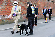 Security tight and a sniffer dog in action outside the course at  at the York Dante Meeting at York Racecourse, York, United Kingdom on 17 May 2018. Picture by Mick Atkins.