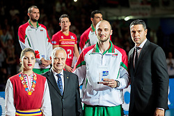 Teodor Todorov of Bulgaria as Best middle blocker at trophy ceremony after volleyball match between National teams of Slovenia and France at Final match of 2015 CEV Volleyball European Championship - Men, on October 18, 2015 in Arena Armeec, Sofia, Bulgaria. Photo by Vid Ponikvar / Sportida