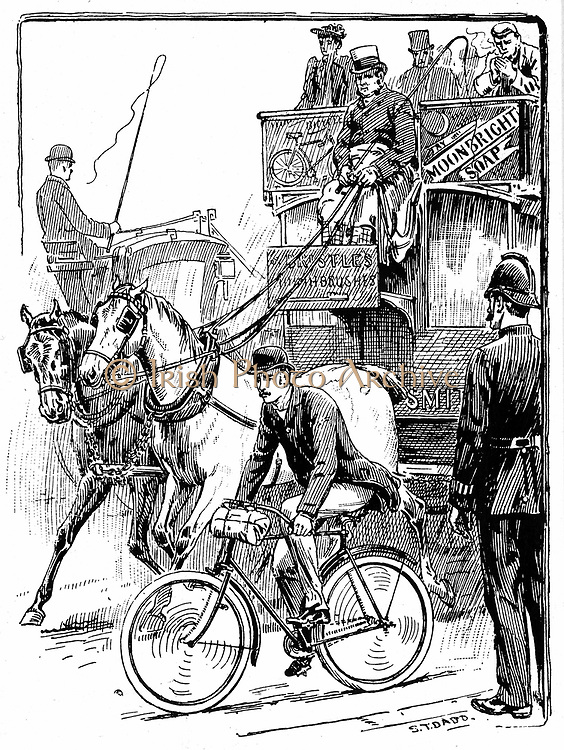 Cyclist in busy London traffic riding a machine of the Rover safety type. Horse bus (omnibus) is overtaking him. Scene observed police constable. Illustration by Stephen T Dadd for 'Cycling' Badmington Library, London 1895.