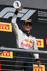 October 21, 2018 - Austin, TX, U.S. - AUSTIN, TX - OCTOBER 21: Red Bull Racing driver Max Verstappen (33) of Netherlands holds second place trophy after the F1 United States Grand Prix on October 21, 2018, at Circuit of the Americas in Austin, TX. (Photo by John Crouch/Icon Sportswire) (Credit Image: © John Crouch/Icon SMI via ZUMA Press)