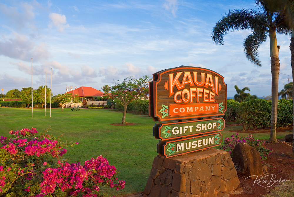 Sign and visitor center at the Kauai Coffee Company plantation (largest in Hawaii), Island of Kauai, Hawaii