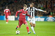 23.10.12. Copenhagen, Denmark. UEFA Champions League Group E, FC Nordsjaelland  1 vs Juventus 1 at the Parken Stadium. Andreas Laudrup (L) of FC Nordsjaelland fights for the ball with Pirlo (R) of Juventus during the UEFA Champions League. Photo: © Ricardo Ramirez.