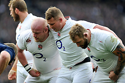 The England front row of Dan Cole, Dylan Hartley and Joe Marler pack down for a scrum - Photo mandatory by-line: Patrick Khachfe/JMP - Mobile: 07966 386802 14/03/2015 - SPORT - RUGBY UNION - London - Twickenham Stadium - England v Scotland - Six Nations Championship