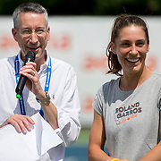 August 16, 2014, New Haven, CT:<br /> Andrea Petkovic is interviewed during a tennis clinic in the AETNA FitZone as part of Kids Day on day three of the 2014 Connecticut Open at the Yale University Tennis Center in New Haven, Connecticut Sunday, August 17, 2014.<br /> (Photo by Billie Weiss/Connecticut Open)