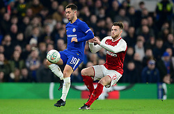 Eden Hazard of Chelsea under pressure from Calum Chambers of Arsenal - Mandatory by-line: Alex James/JMP - 10/01/2018 - FOOTBALL - Stamford Bridge - London, England - Chelsea v Arsenal - Carabao Cup semi-final first leg