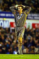 Photo: Scott Heavey.<br />Everton v Chelsea. FA Barclaycard Premiership. 01/11/2003.<br />Nigel Martin shows his frustration