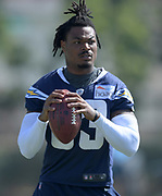 Aug 14, 2019; Costa Mesa, CA, USA: Los Angeles Chargers safety Derwin James (33) during training camp at the Jack Hammett Sports Complex.