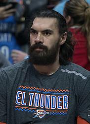 March 8, 2019 - Los Angeles, California, United States of America - Steven Adams #12 of the Oklahoma Thunder during warm-ups prior to their NBA game with the Los Angeles Clippers on Friday March 8, 2019 at the Staples Center in Los Angeles, California. Clippers defeat Thunder, 118-110.  JAVIER ROJAS/PI (Credit Image: © Prensa Internacional via ZUMA Wire)