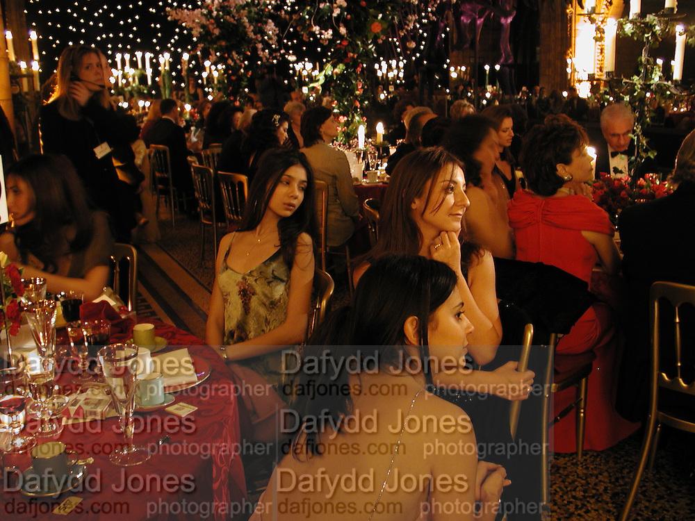 Lauren Samhoun, ? and Rasha Samhoun. British Lebanese Association fashion show and dinner. Naturqal History Museum. 5 April 2001. © Copyright Photograph by Dafydd Jones 66 Stockwell Park Rd. London SW9 0DA Tel 020 7733 0108 www.dafjones.com