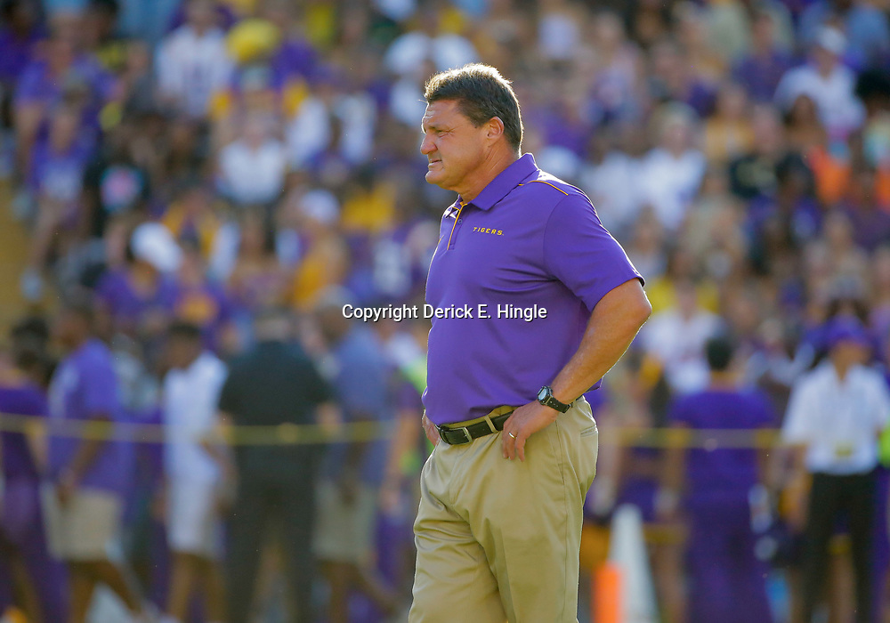 Aug 31, 2019; Baton Rouge, LA, USA; LSU Tigers head coach Ed Orgeron prior to kickoff against the Georgia Southern Eagles at Tiger Stadium. Mandatory Credit: Derick E. Hingle-USA TODAY Sports