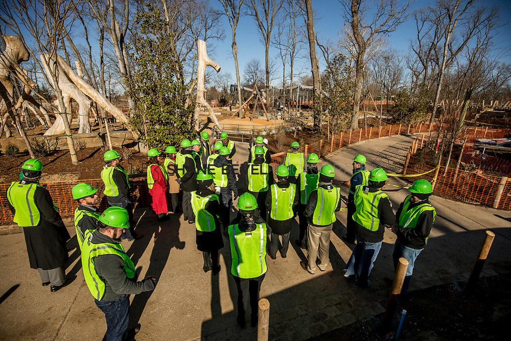 1/12/18 11:17:54 AM -- Halliburton CEO Jeff Miller and George Kaiser visit the Gathering Place for a press conference announcing Halliburton's support for the park. <br /> <br /> Photo by Shane Bevel