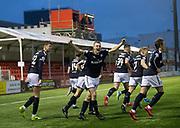 27th January 2018, SuperSeal Stadium, Hamilton, Scotland; Scottish Premiership football, Hamilton Academical versus Dundee; Dundee's Matty Hanvey celebrates after scoring for 1-1
