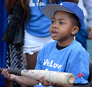 April 14, 2017 - Los Angeles, California, U.S. - 10 year-old Zion Harvey reacts after receiving a signed bat from Los Angeles Dodgers' Yasiel Puig (not pictured) prior to a Major League baseball game between the Arizona Diamondbacks and the Los Angeles Dodgers at Dodger Stadium on Friday, April 14, 2017 in Los Angeles. (Photo by Keith Birmingham, Pasadena Star-News/SCNG) (Credit Image: © San Gabriel Valley Tribune via ZUMA Wire)