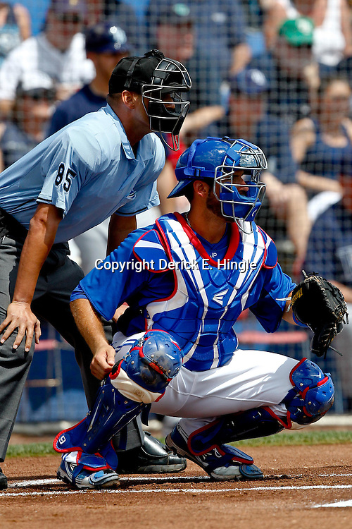 March 16, 2012; Dunedin, FL, USA; Toronto Blue Jays catcher J.P. Arencibia (9) against the Tampa Bay Rays during a spring training game at Florida Auto Exchange Stadium. Mandatory Credit: Derick E. Hingle-US PRESSWIRE