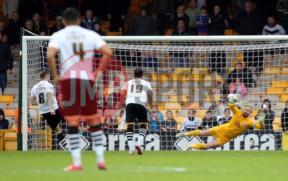 Peterborough United's Ben Alnwick saves a penalty from Michael O'Connor of Port Vale - Mandatory byline: Joe Dent/JMP - 07966 386802 - 17/10/2015 - FOOTBALL - Vale Park - Stoke-on-Trent, England - Port Vale v Peterborough United - Sky Bet League One
