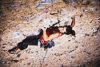 Sam Burrell climbs Forbiddance. 5.12a, Maple Canyon, Utah.