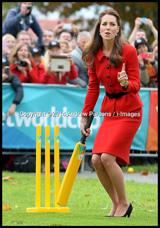 The Duchess of Cambridge indicates to Prince William that ball was wide as The Duke and Duchess of Cambridge play cricket in a 2015 Cricket World Cup event in Christchurch, New Zealand on day 8 of the Royal Tour of New Zealand and Australia. Monday, 14th April 2014. Picture by Andrew Parsons / i-Images