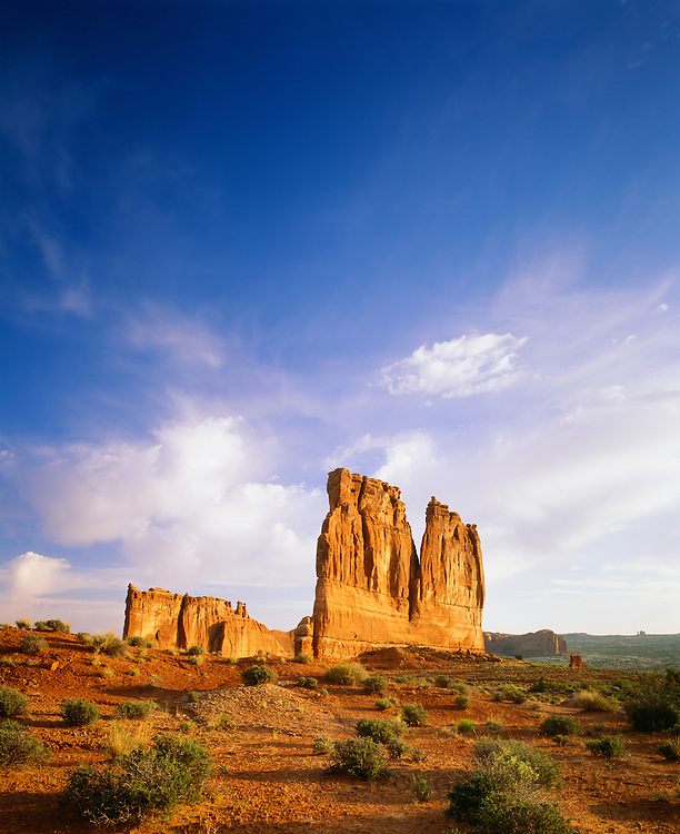0301-1044D ~ Copyright:  George H. H. Huey ~ Courthouse Towers [with the Organ and Tower of Babel formations].  Sunrise.  Arches National Park, Utah.