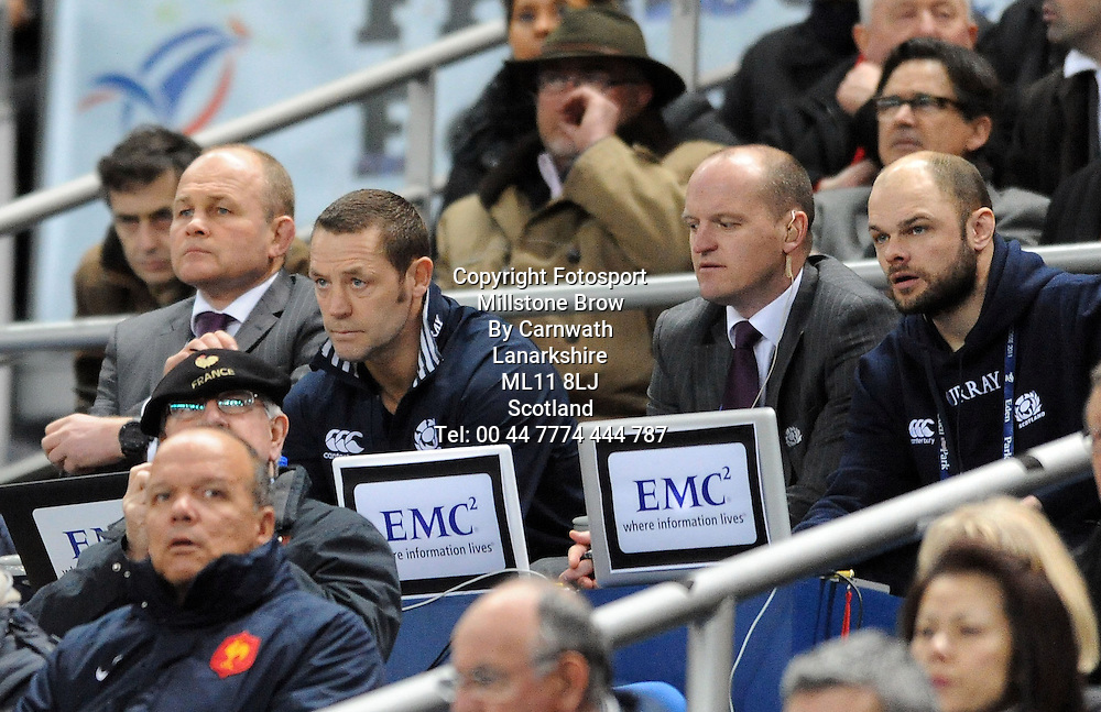 (L TO R) Scotland coaches Andy Robinson, Graham Steadman, Gregor Townsend and video analyst Gavin Scott.<br /> France v Scotland, Six Nations Championship, Stade de France, Saint-Denis, Paris, France, Saturday 5th February 2011<br /> ***PLEASE CREDIT: FOTOSPORT/DAVID GIBSON***.<br /> France v Scotland, Six Nations Championship, Stade de France, Saint-Denis, Paris, France, Saturday 5th February 2011<br /> ***PLEASE CREDIT: FOTOSPORT/DAVID GIBSON***.