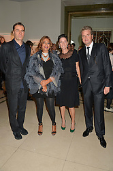 Left to right, PATRIK SCHUMACHER, ZAHA HADID, MARY McCARTNEY and FRANCOIS DELAGE at the De Beers Moments in Light - a celebration of telented women in association with Women For Women International featuring photographs by Mary McCartney held at Claridge's, Brook Street, London on 18th September 2015.