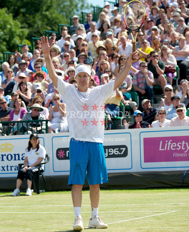 LIVERPOOL, ENGLAND - Sunday, June 20, 2010: John McEnroe (USA) in action on day five of the Liverpool International Tennis Tournament at Calderstones Park. (Pic by David Rawcliffe/Propaganda)
