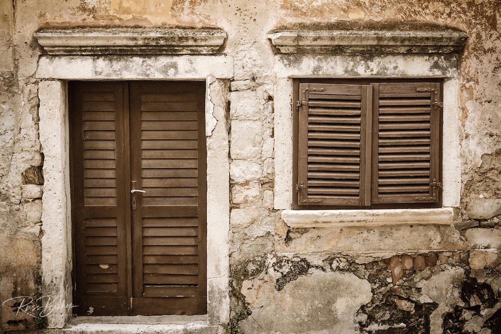 Shuttered window and door, Skradin, Dalmatia, Croatia