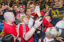 Image ©Licensed to i-Images Picture Agency. 07/08/2014. Salford, United Kingdom. Class of 92 Manchester. AJ Bell Stadium. Rio Ferdinand is mobbed in the crowd . Class of 92 squad play Salford City FC at the AJ Bell Stadium . Picture by i-Images