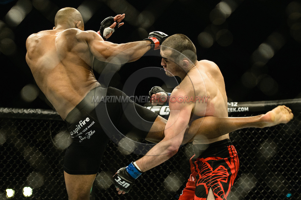 "STOCKHOLM, SWEDEN, JANUARY 24, 2015: Albert Tumenov and Nico Musoke during ""UFC on Fox 14: Gustafsson vs. Johnson"" inside Tele2 Arena in Stockholm, Sweden"