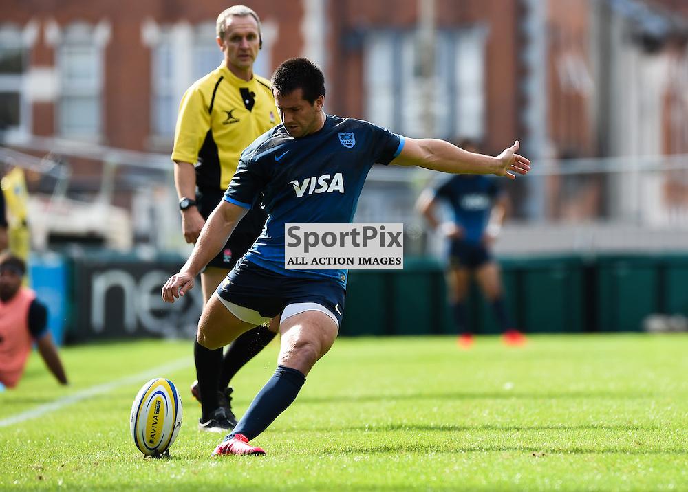 Santiago Gonzalez Iglesias converts The Pumas final try (c) Simon Kimber   SportPix.org.uk