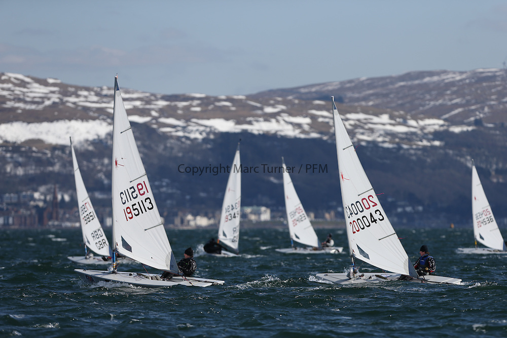 Day 1 of the RYA Youth National Championships 2013 held at Largs Sailing Club, Scotland from the 31st March - 5th April. ..Laser Radial Fleet Upwind..For Further Information Contact..Matt Carter.Racing Communications Officer.Royal Yachting Association.M: 07769 505203.E: matt.carter@rya.org.uk ..Image Credit Marc Turner / RYA..