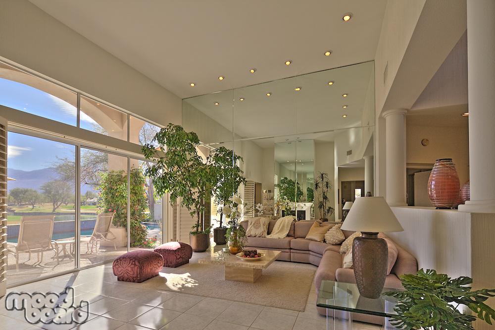 Stylish living room of luxury villa