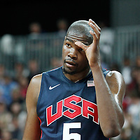 31 July 2012: USA Kevin Durant rests during 110-63 Team USA victory over Team Tunisia, during the men's basketball preliminary, at the Basketball Arena, in London, Great Britain.