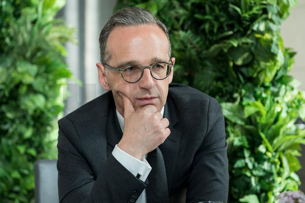 15 MAY 2019, BERLIN/GERMANY:<br /> Heiko Maas, SPD, Bundesaussenminister, waehrend einem Interview, Restaurant des Deutschen Bundestages, Reichstagsgebaeude<br /> IMAGE: 20190515-01-012
