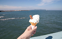 99 chocolate flake icecream cone on a sunny day in Dun Laoghaire Dublin Ireland