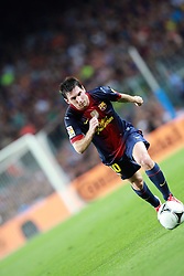 Lionel Messi takes a free kick. Barcelona v Real Madrid, Supercopa first leg, Camp Nou, Barcelona, 23rd August 2012...Credit - Eoin Mundow/Cleva Media