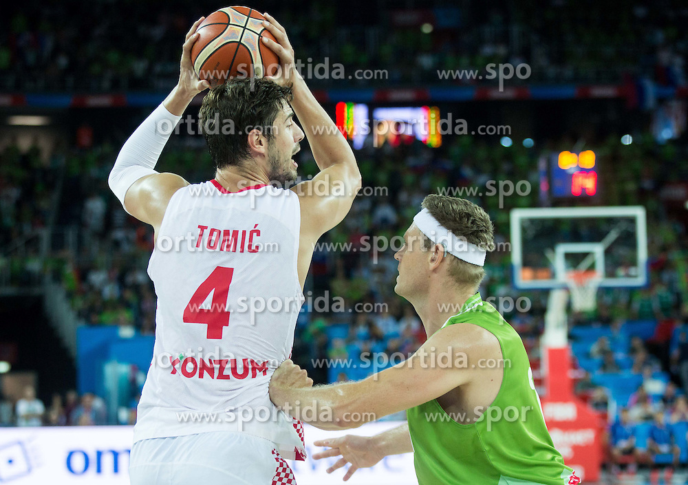 Ante Tomic of Croatia vs Miha Zupan of Slovenia during basketball match between Croatia and Slovenia at Day 1 in Group C of FIBA Europe Eurobasket 2015, on September 5, 2015, in Arena Zagreb, Croatia. Photo by Vid Ponikvar / Sportida