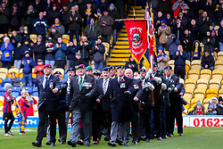 Ex-servicemen on the pitch at the One Call Stadium, home to Mansfield Town - Mandatory by-line: Ryan Crockett/JMP - 27/10/2018 - FOOTBALL - One Call Stadium - Mansfield, England - Mansfield Town v Milton Keynes Dons - Sky Bet League Two