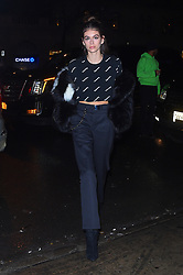 "Kaia Gerber shows off her toned abs as she attends ""Jimmy Choo x Off-White"" presentation. 11 Feb 2018 Pictured: Kaia Gerber. Photo credit: STB / MEGA TheMegaAgency.com +1 888 505 6342"