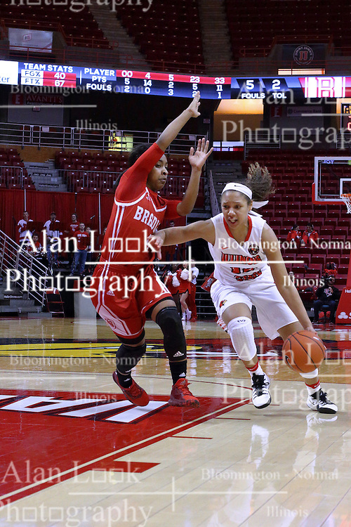 01 January 2017: Katrina Beck defended by Alona Johnson during an NCAA Missouri Valley Conference Women's Basketball game between Illinois State University Redbirds the Braves of Bradley at Redbird Arena in Normal Illinois.