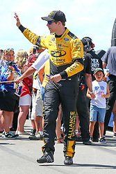 July 29, 2018 - Long Pond, PA, U.S. - LONG POND, PA - JULY 29:  Monster Energy NASCAR Cup Series driver Brad Keselowski Alliance Truck Parts Ford (2) during driver introductions prior to the Monster Energy NASCAR Cup Series - 45th Annual Gander Outdoors 400 on July 29, 2018 at Pocono Raceway in Long Pond, PA. (Photo by Rich Graessle/Icon Sportswire) (Credit Image: © Rich Graessle/Icon SMI via ZUMA Press)