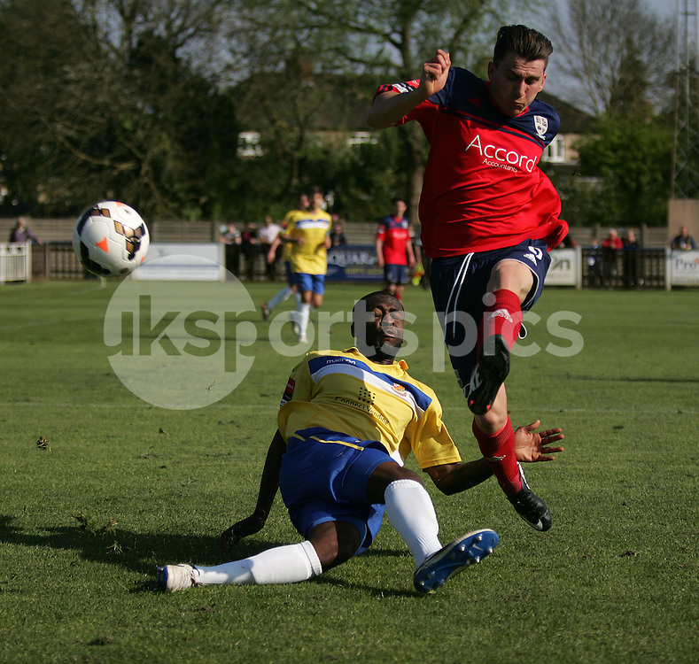 Hampton's Dave Tarpey shuts down Wealdstone's James Hammond. Wealdstone v Hampton &amp; Richmond Borough, Grosvenor Vale, Ruislip, Middlesex HA4 6JQ<br /> Date 03-05-2014<br /> Picture by Ken Sparks<br /> Mobile 07968 045353 (Ken Sparks Photography) - 7 Leslie Park Road, East Croydon, Surrey CR0 6TN - Tel: 020 8655 2129 - Fax: 020 8655 2129
