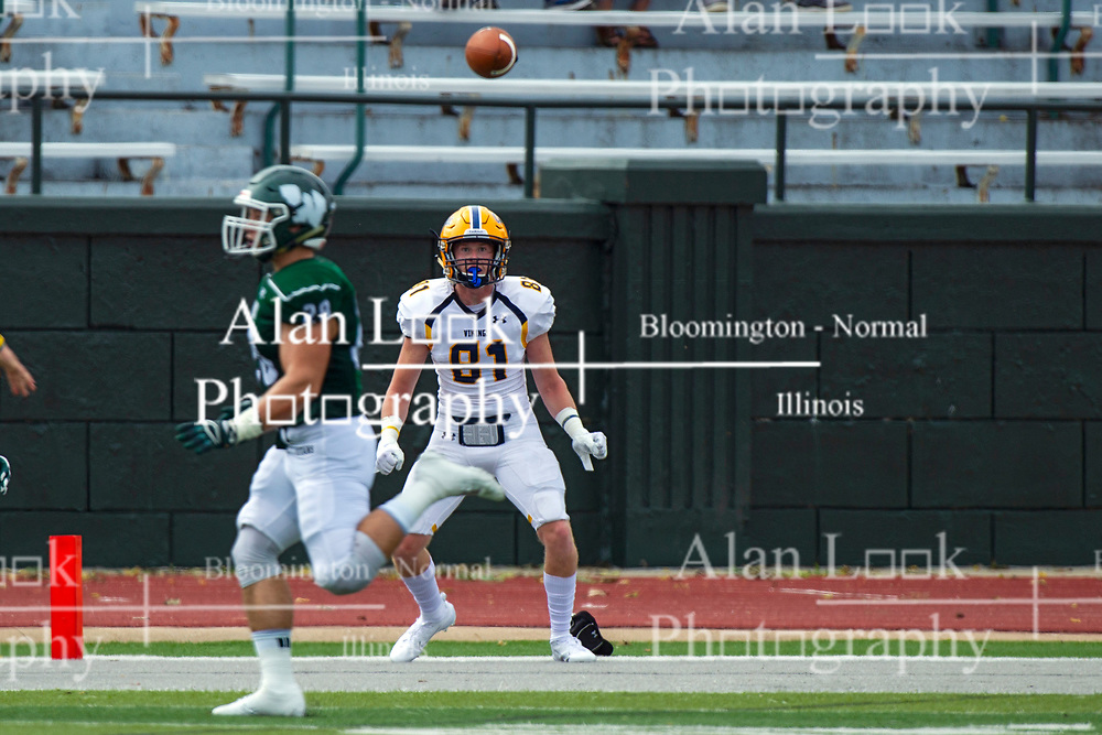 BLOOMINGTON, IL - September 28:  Patrick Byrne watches and waits in the back of the end zone for a pass completion during a college football game between the IWU Titans and the Augustana Vikings on September 28 2019 at Wilder Field in Tucci Stadium in Bloomington, IL. (Photo by Alan Look)