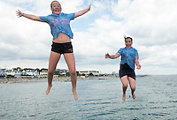 23/06/2014 School's out for summer for Ali Walsh and Leah Flemming from Bushy Park National school in Galway and it started with a splash at the diving tower in Salthill. Photo:Andrew Downes.