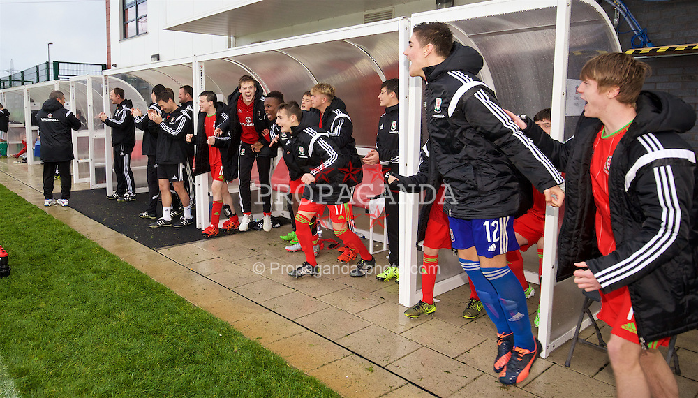 NEWPORT, WALES - Thursday, November 5, 2015: Wales players celebrate at the final whistle as their 3-1 victory over Northern Ireland seals the Victory Shield for a second successive year during the Under-16's Victory Shield International match at Dragon Park. (Pic by David Rawcliffe/Propaganda)